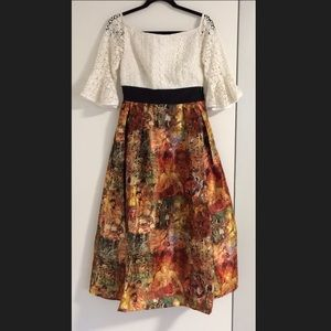 New EshaktI Mixed Media Fit Flare Dress S 6